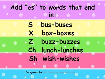 """Adding """"es"""" to words Poster"""