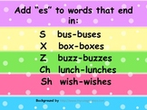 "Adding ""es"" to words Poster"