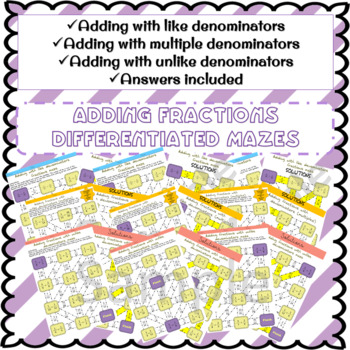 Adding fractions differentiated mazes bundle