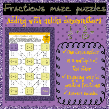 Adding fractions with unlike (multiple) denominators mazes