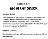 Adding in Any Order Lesson
