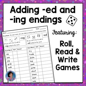 Adding ed and ing endings - Inflectional endings game and posters