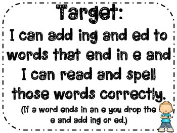 Adding ing and ed to Words Ending in e