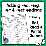 Adding ing, ed, er and est Endings Games - Roll, Read & Write!  {Ideal for RtI}
