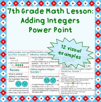 Adding integers power point (grade 7)