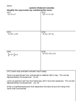Adding linear Expressions by Combining Like Terms Guided Practice