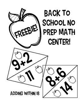Back to School Adding within 18 math center FREEBIE