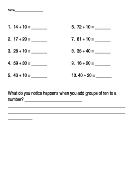 Adding multiples of 10 worksheet