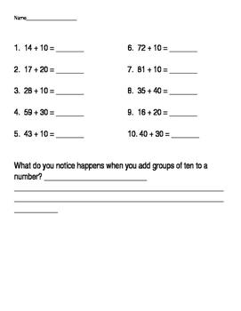Adding multiples of 10 worksheet