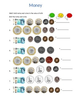 Adding notes and coins to £10