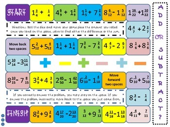 Superb image for adding and subtracting fractions game printable