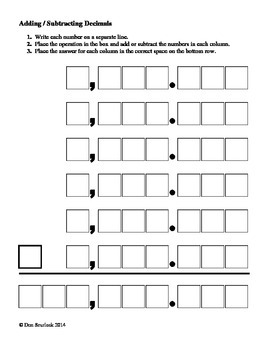 Adding or Subtracting Decimals Help Sheet