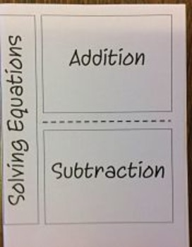 One Step Equations by Adding or Subtracting Foldable
