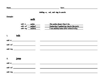 Adding -s, -ed, and -ing - Worksheet