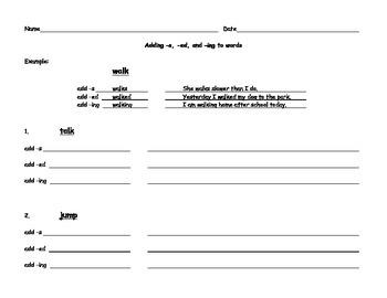 Adding -s, -ed, and -ing - Worksheet