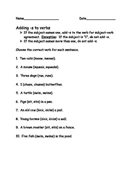 Adding s to Verbs