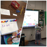 Adding single digits with manipulatives