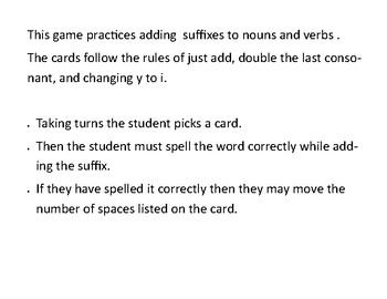 Adding suffixes to words  (y rule, doubling rule, and just add rule)