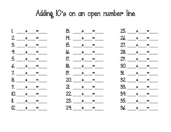 Adding tens on an open number line (English & Spanish)