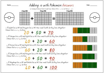 Adding tens with Pokemon