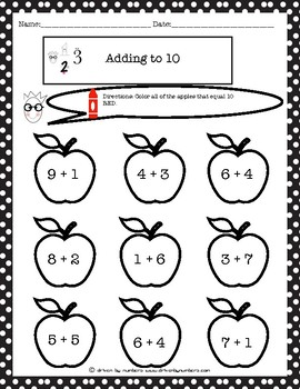 Adding to 10 Coloring Worksheet