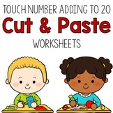 Adding to 20 Cut and Paste Worksheets:  Touch Number