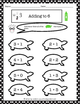 Adding to 6 Coloring Turtles Worksheet