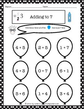 Adding to 7 Coloring Worksheet