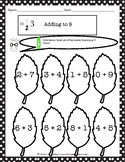 Adding to 9 Coloring Worksheets