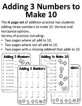 Adding to Make 10 Adding Three Numbers First Grade Adding 3 Numbers Worksheets
