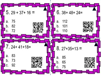 Adding up to 4 Two digit numbers with QR codes