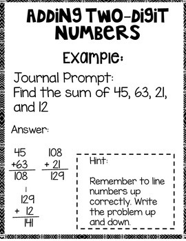Adding up to four Two-Digit Numbers
