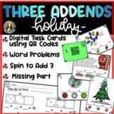 Three Addends - QR Code Hunt, Word Problems, Spin & Add! -