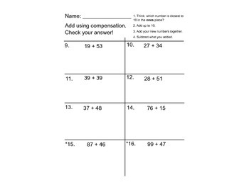 Adding with Compensation Worksheets