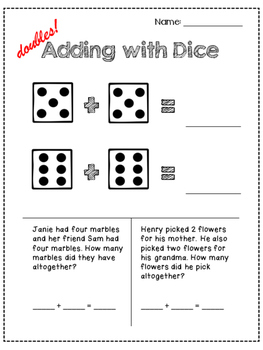 Adding to 10 with Dice + Word Problems