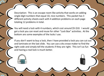 """Adding with """"Nice Numbers"""" to Tens-Lock Box Escape Room"""