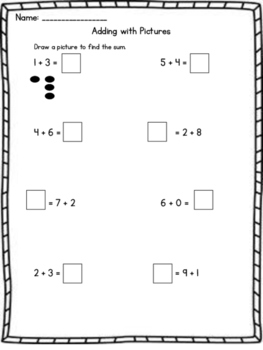 Adding with Pictures Worksheet