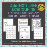 Adding with Regrouping Fun Student Activity Bundle- Large Numbers