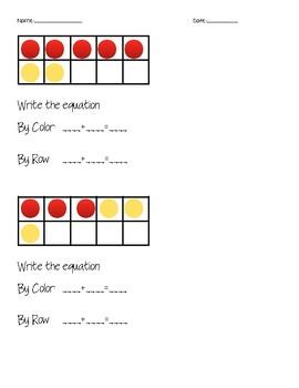 Adding with Ten Frames Worksheet