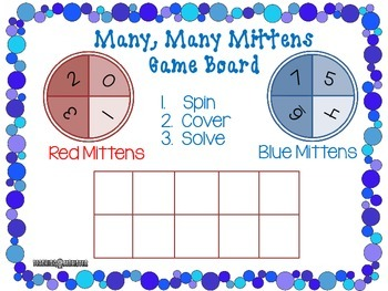 Adding with Tens Frames Math Center--Many, Many Mittens