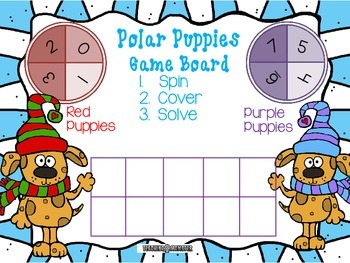 Adding with Tens Frames Math Center--Polar Puppies