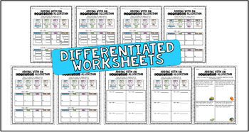 Adding with an Expanded Algorithm ~ Reference Charts,& Differentiated Worksheets