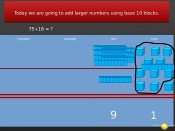 Adding with regouping using bse ten blocks