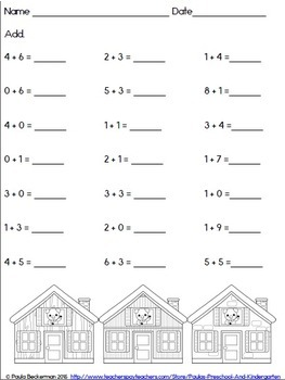 Adding with the Piggies Game and Worksheets