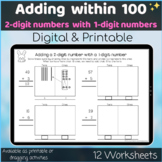 Adding within 100  2 digit and 1 digit number Digital and