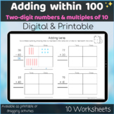 Adding within 100 2-digits and multiple of 10 Digital and Printable worksheets
