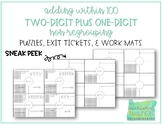 Adding within 100 Puzzles, Exit Tickets, and Work Mats- NO