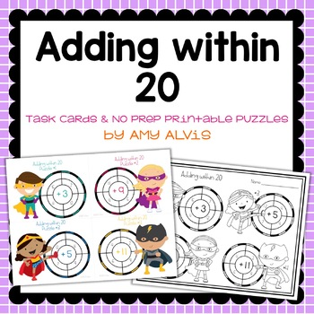 Adding within 20 Task Cards & NO PREP Printable Puzzles