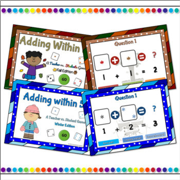 Adding within 5 Seasons Powerpoint Game Bundle