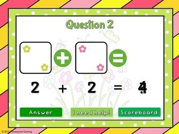 Adding within 5 - Spring Edition PPT Game
